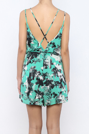 Bacio Mint Printed Romper - Back cropped