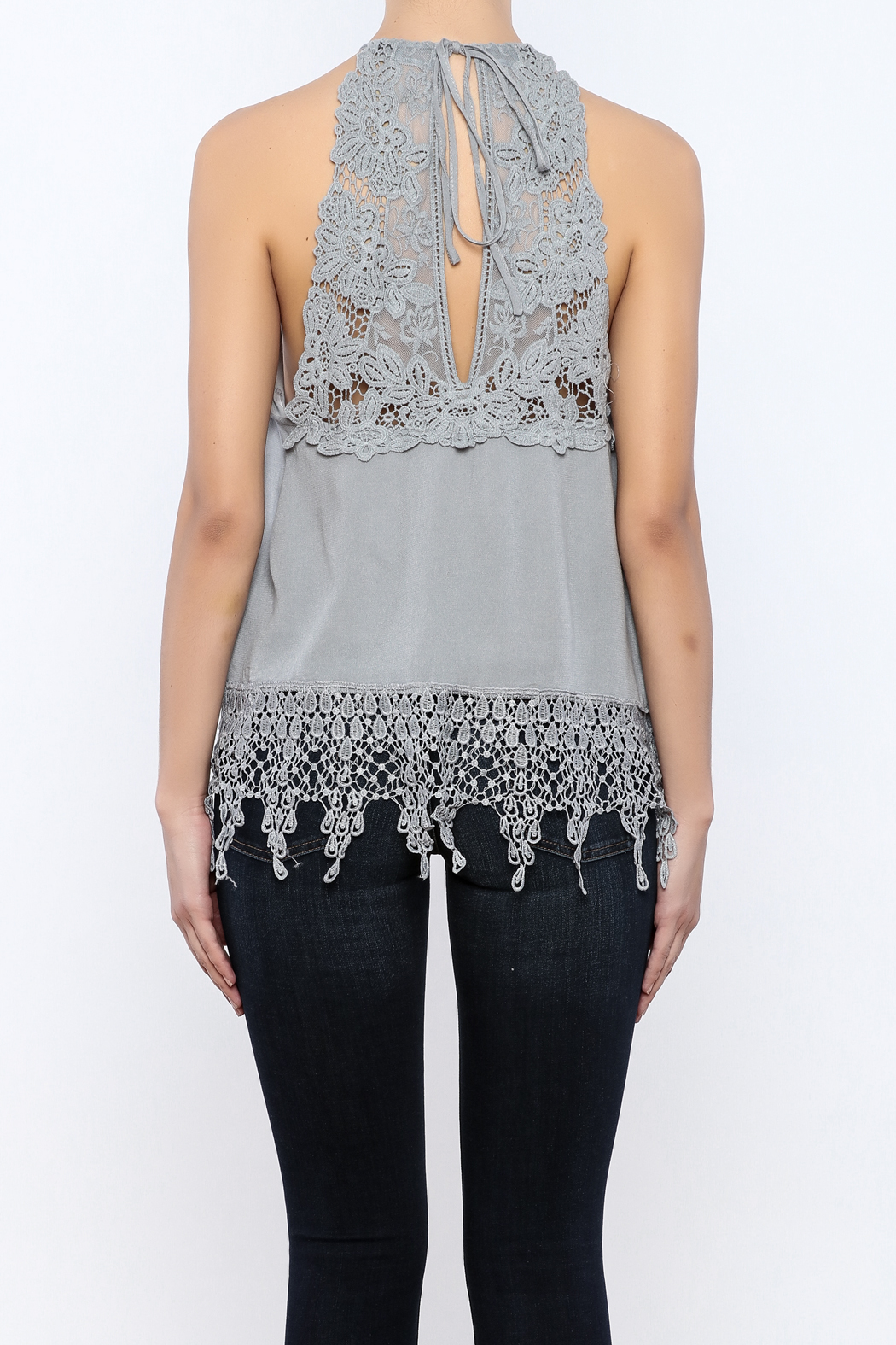 Bacio Lace Back Halter Top - Back Cropped Image