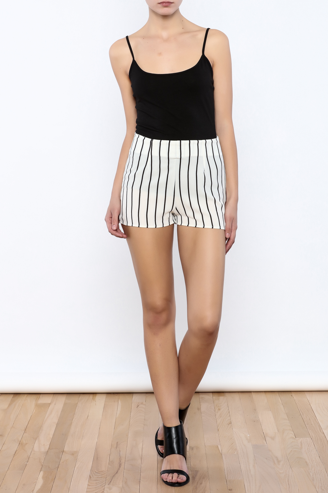 Bacio Stripe Pattern Shorts - Front Full Image