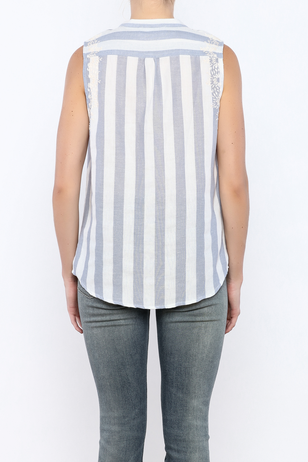 Bacio Stripe Sleeveless Top - Back Cropped Image