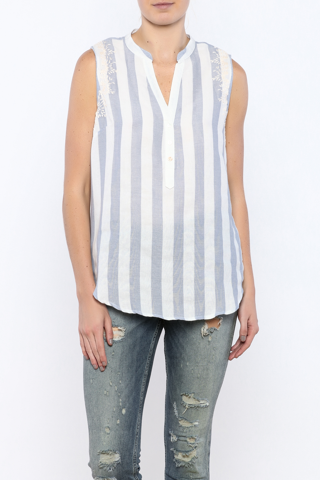 Bacio Stripe Sleeveless Top - Front Cropped Image