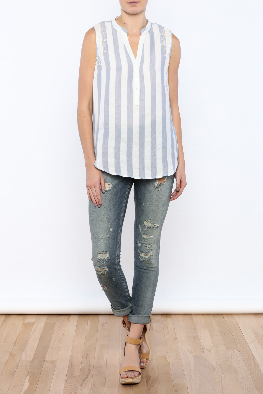 Bacio Stripe Sleeveless Top - Front Full Image
