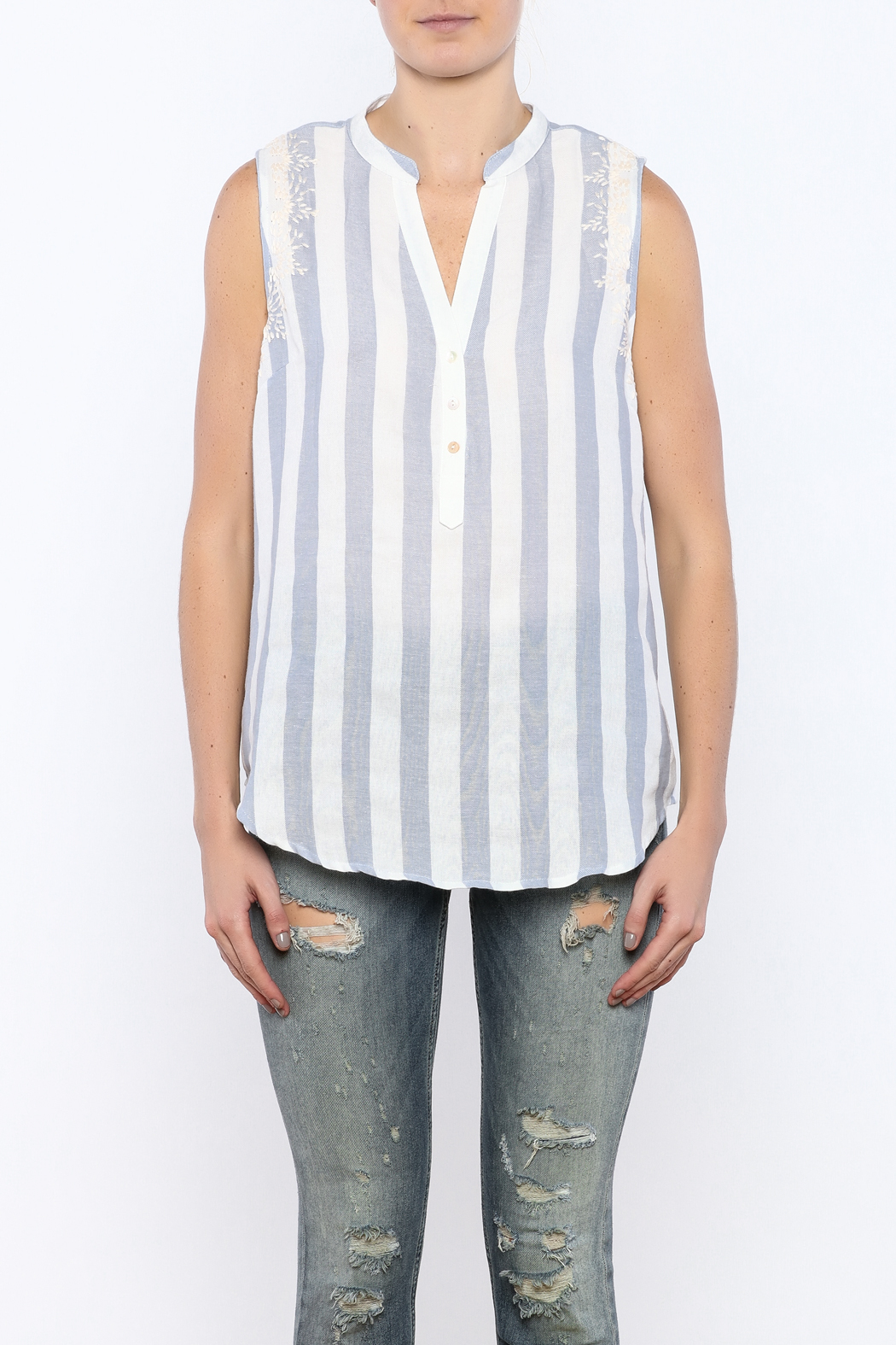 Bacio Stripe Sleeveless Top - Side Cropped Image