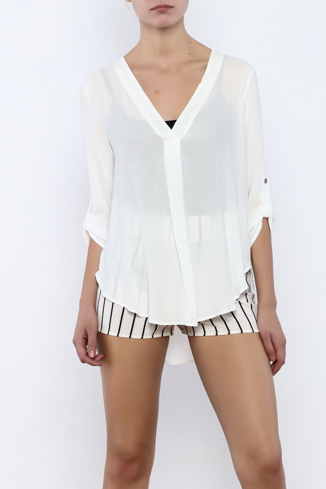 Bacio White Top - Front Cropped Image
