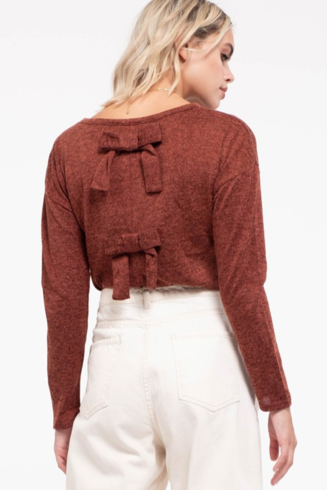 Mine and E&M Back-Bow Knit Top - Front Full Image