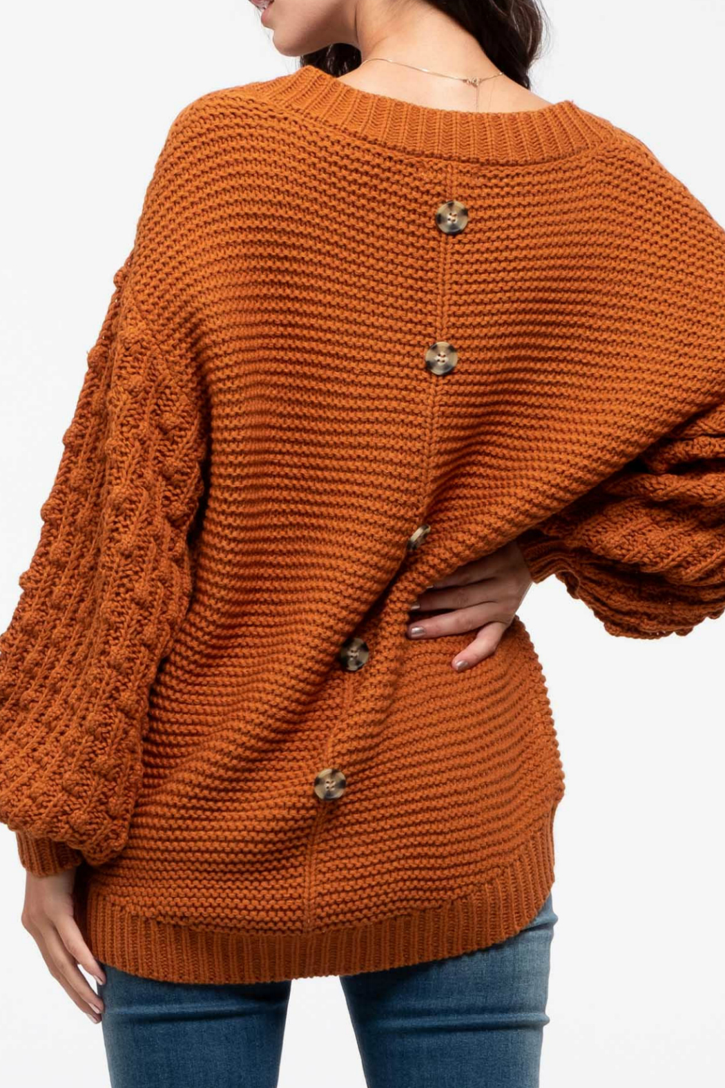 Blu Pepper Back-Button Knit Sweater - Front Full Image