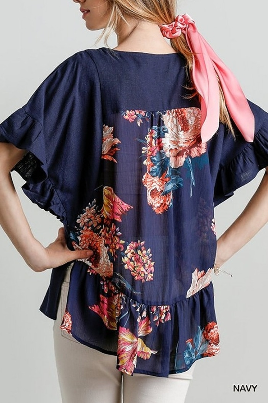 Umgee  Back Floral Print Short Sleeve Top with Ruffle Details and Side Slits - Main Image