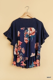 Umgee  Back Floral Print Short Sleeve Top with Ruffle Details and Side Slits - Other