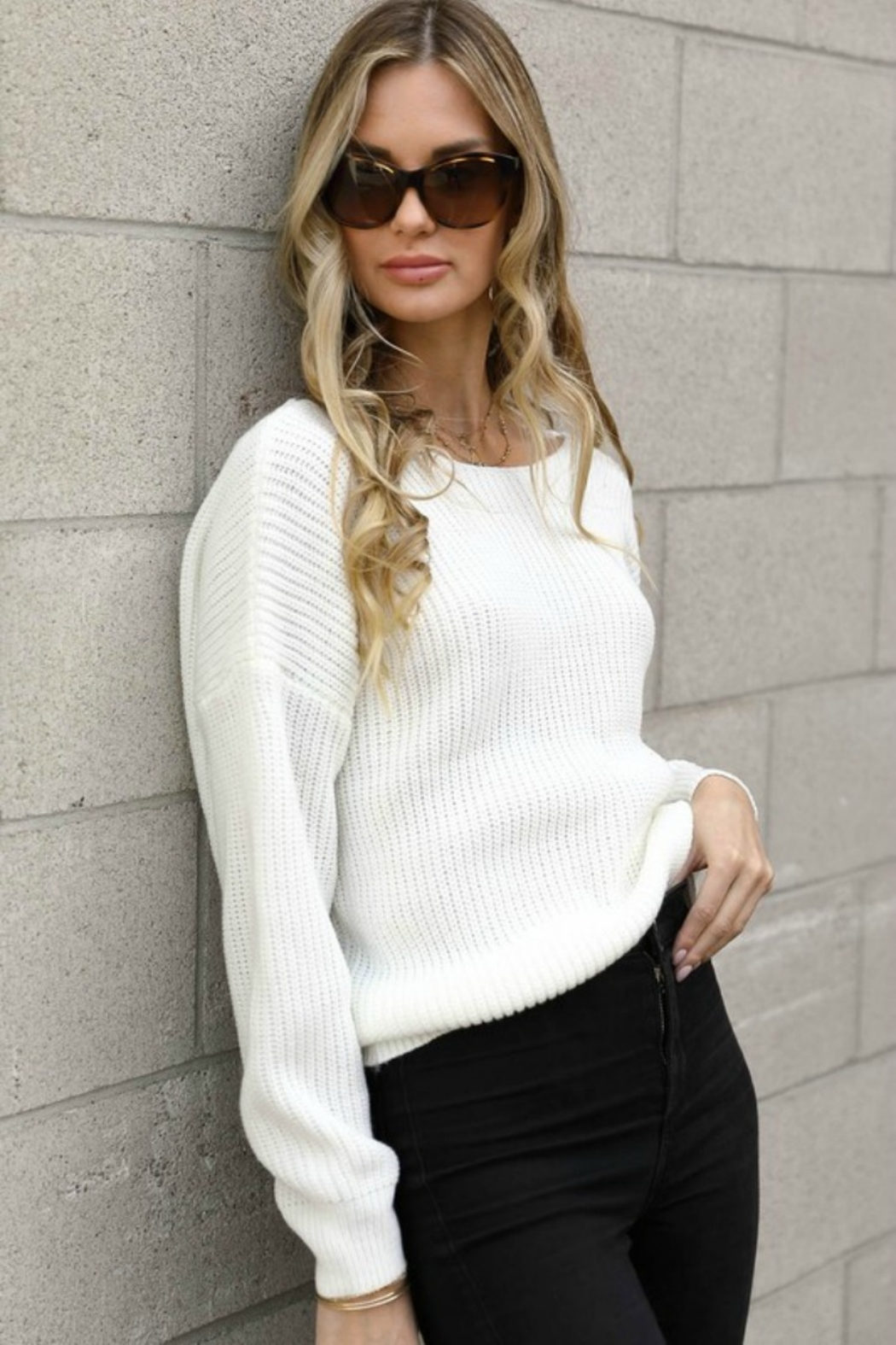Spotlite BACK LACE SWEATER - Front Full Image