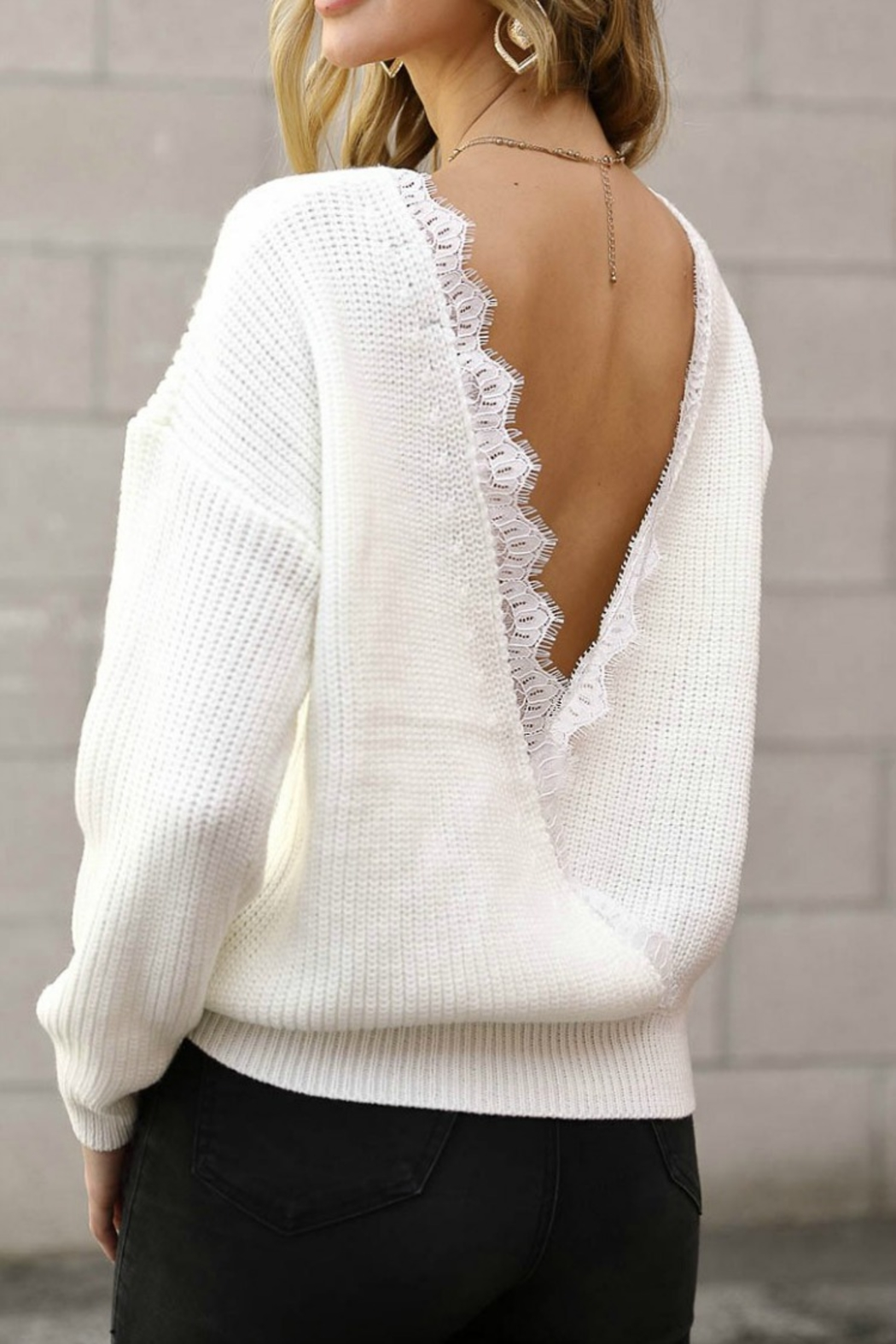 Spotlite BACK LACE SWEATER - Front Cropped Image