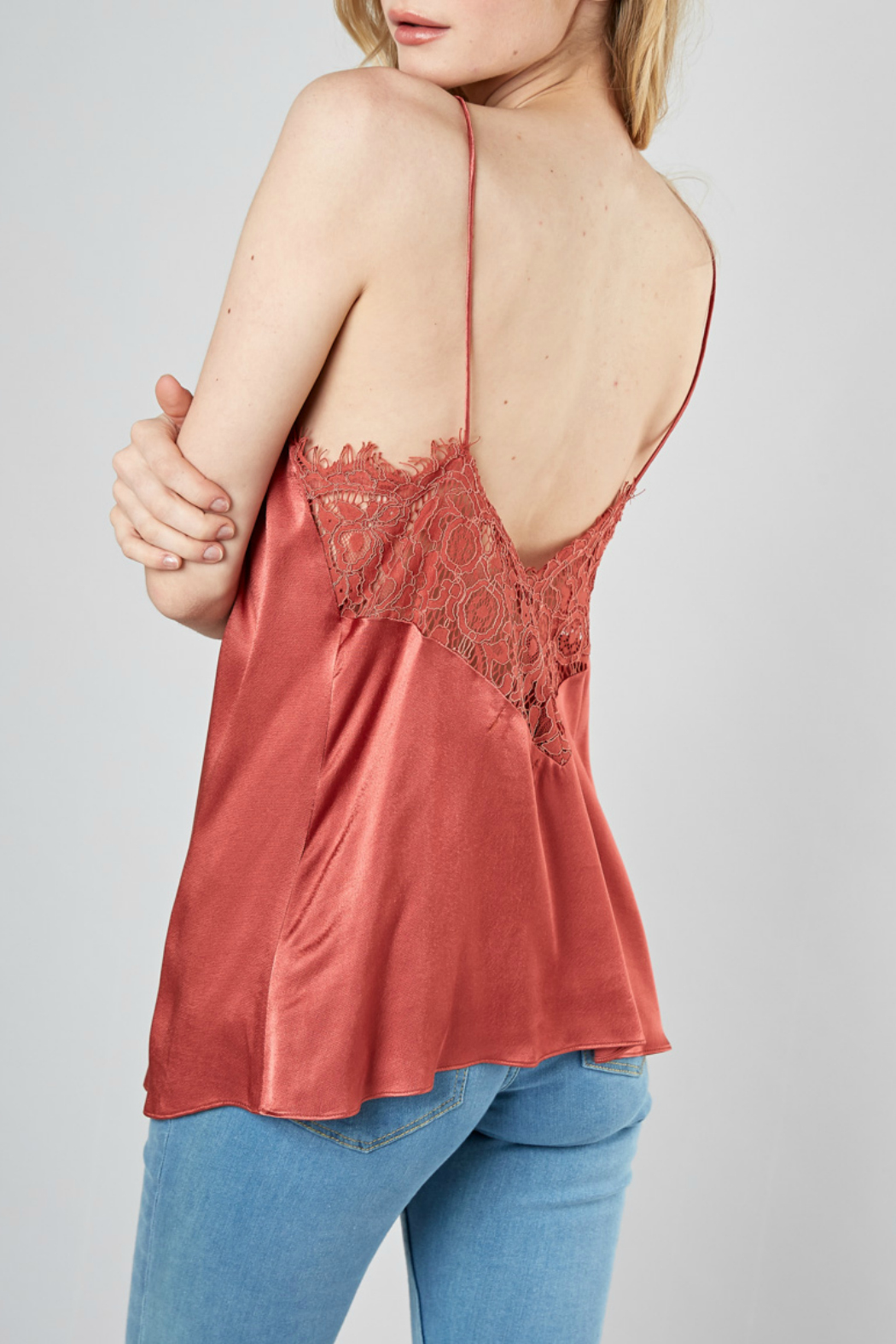 DO+Be Collection  Back Lace Trim Top - Back Cropped Image