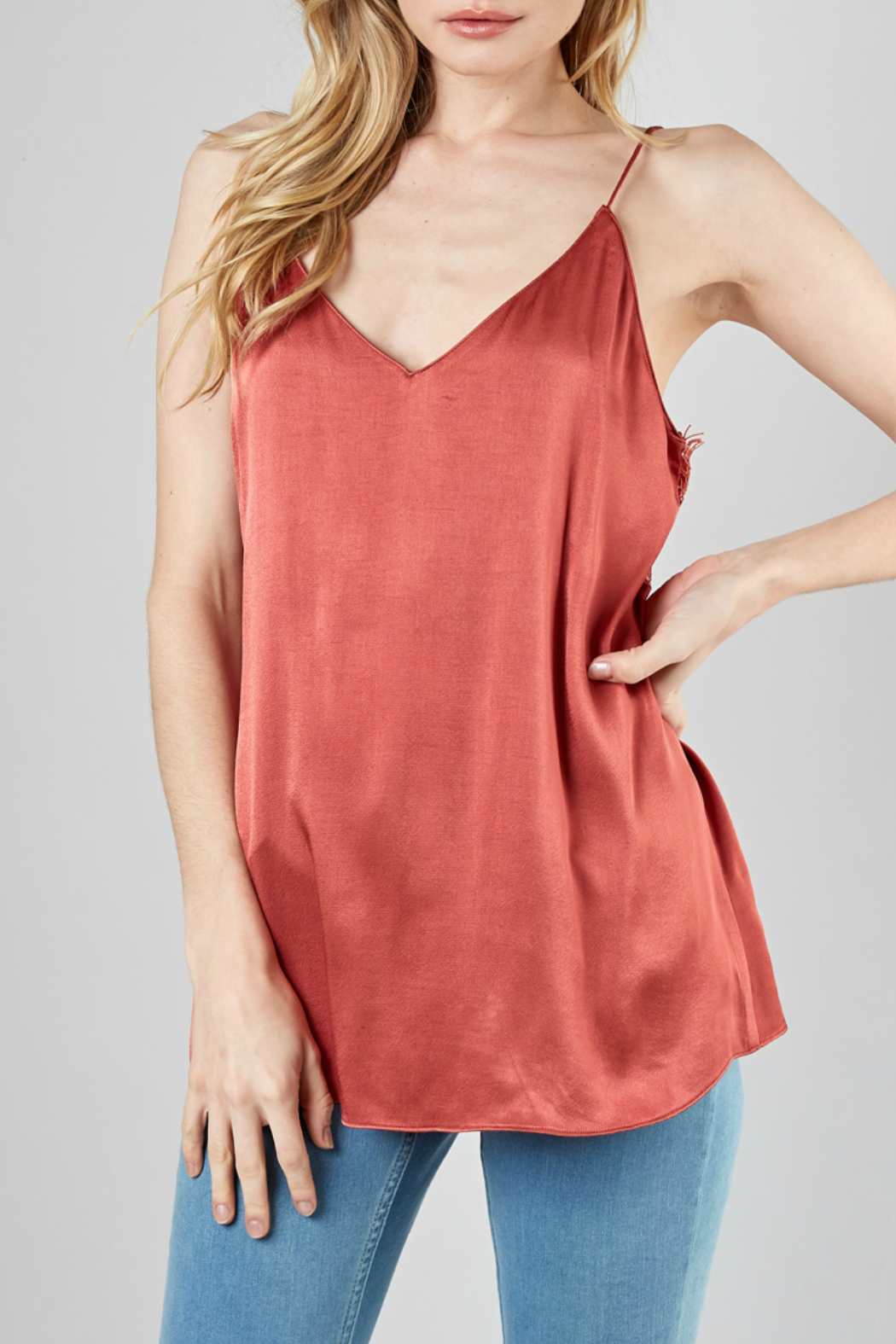 DO+Be Collection  Back Lace Trim Top - Front Full Image