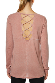 Betsey Johnson Back Lace-up Acid Wash L/S Tee - Side cropped