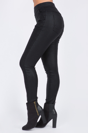 Bianco Jeans Black Shine Pull On Pant w Back Pockets - Front full body