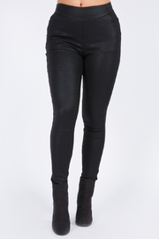 Bianco Jeans Black Shine Pull On Pant w Back Pockets - Product Mini Image