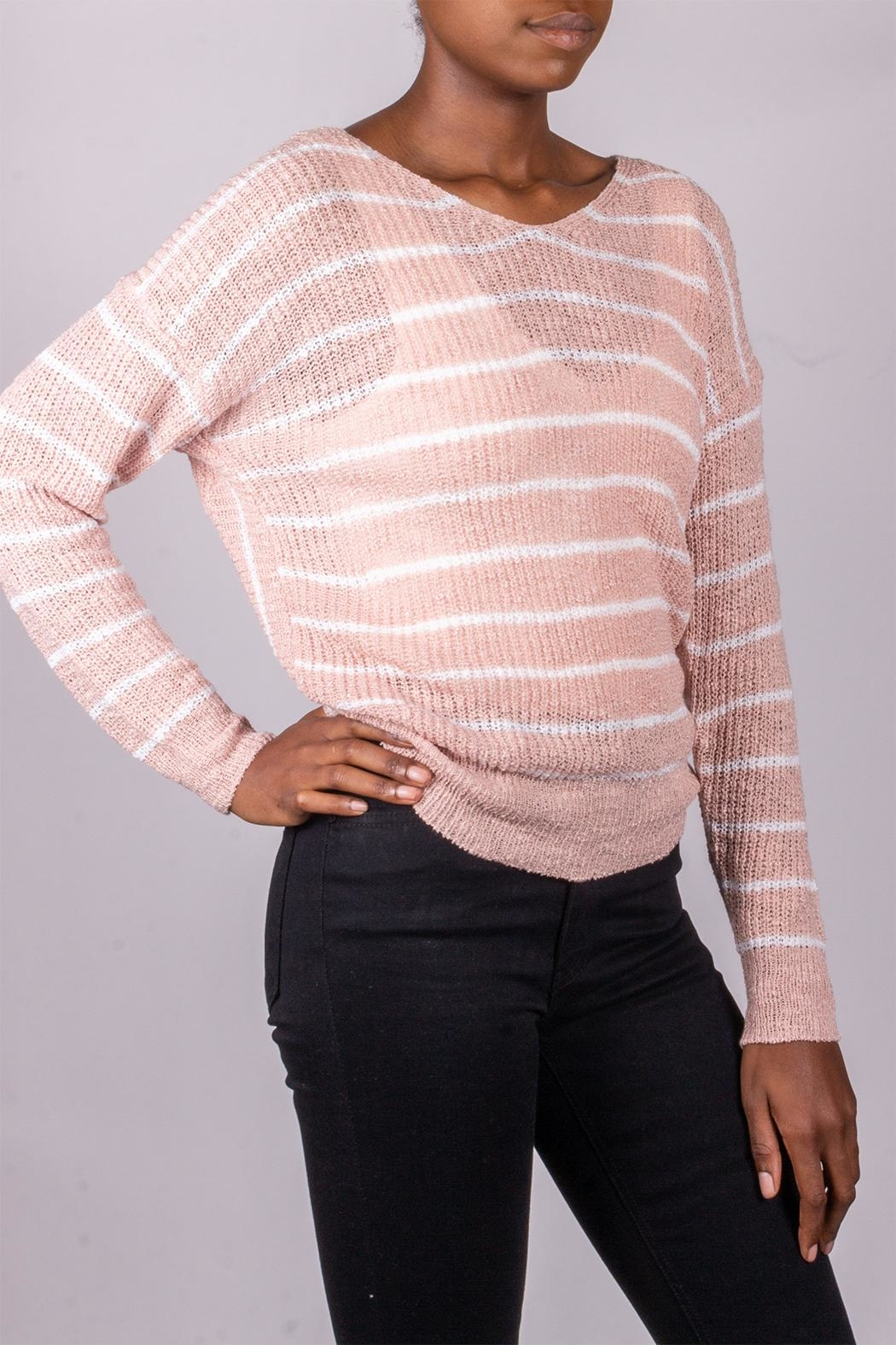 Love Tree Back-Tie Sweater Pink - Side Cropped Image