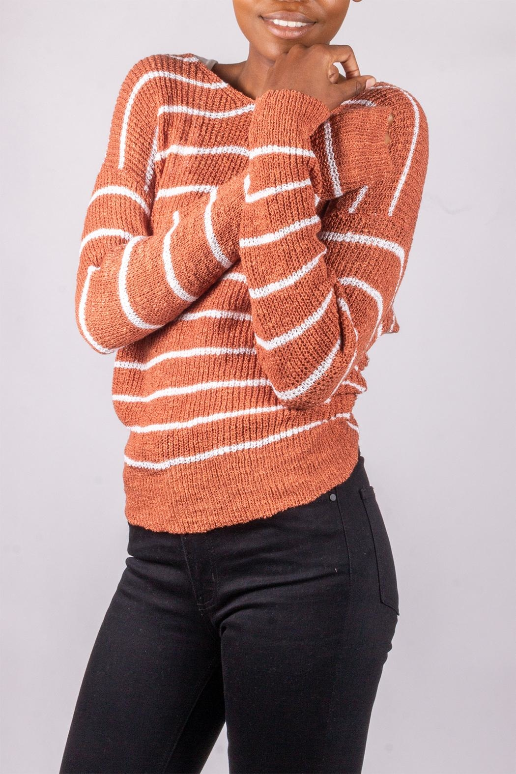 Love Tree Back-Tie Sweater Rust - Side Cropped Image