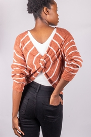 Love Tree Back-Tie Sweater Rust - Back cropped