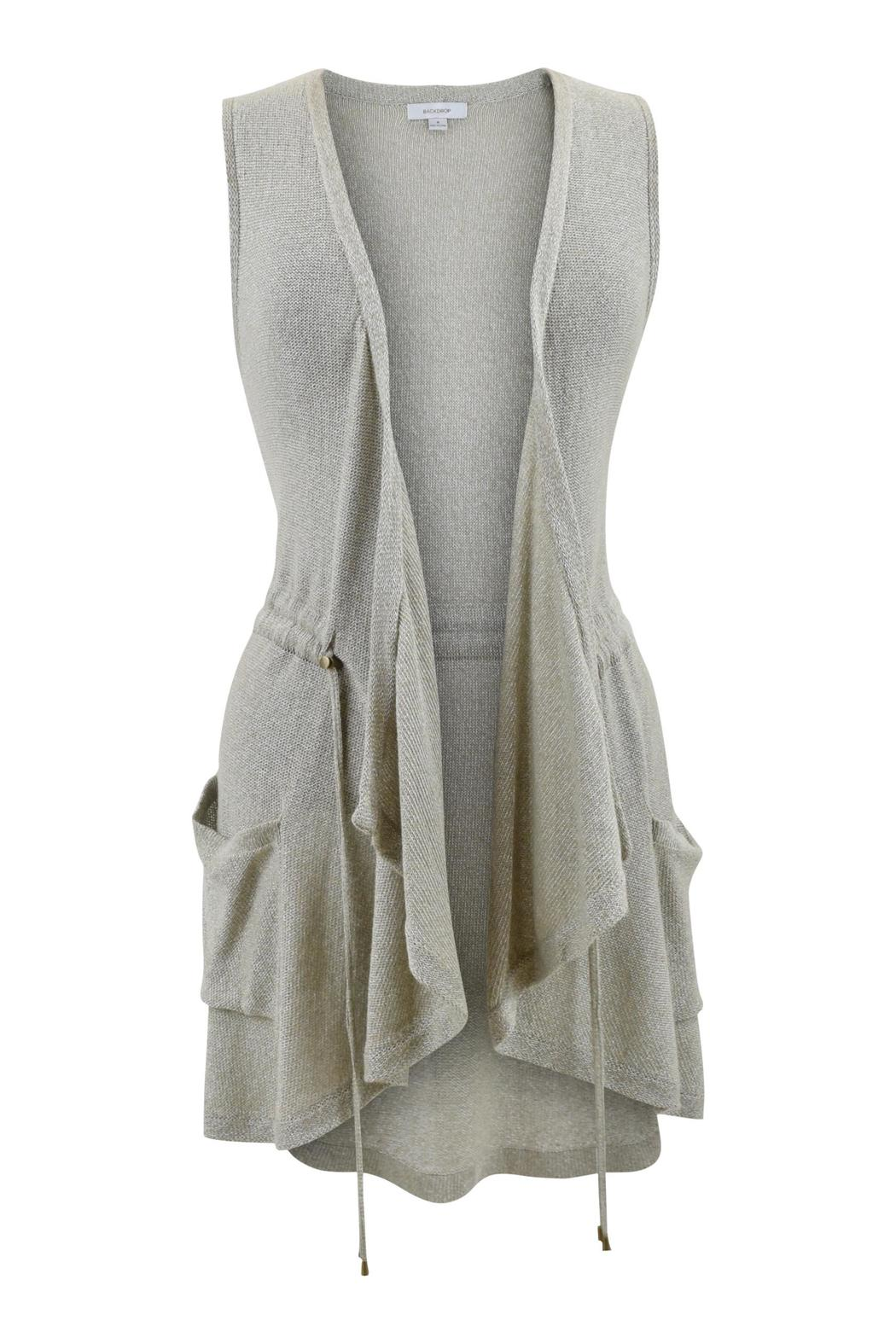 Backdrop Fashion Champagne Drawstring Vest - Front Cropped Image