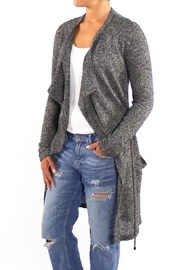 Backdrop Fashion Grey Long Cardigan - Front cropped