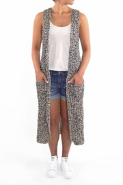 Backdrop Fashion Ribbed Duster Vest - Front cropped
