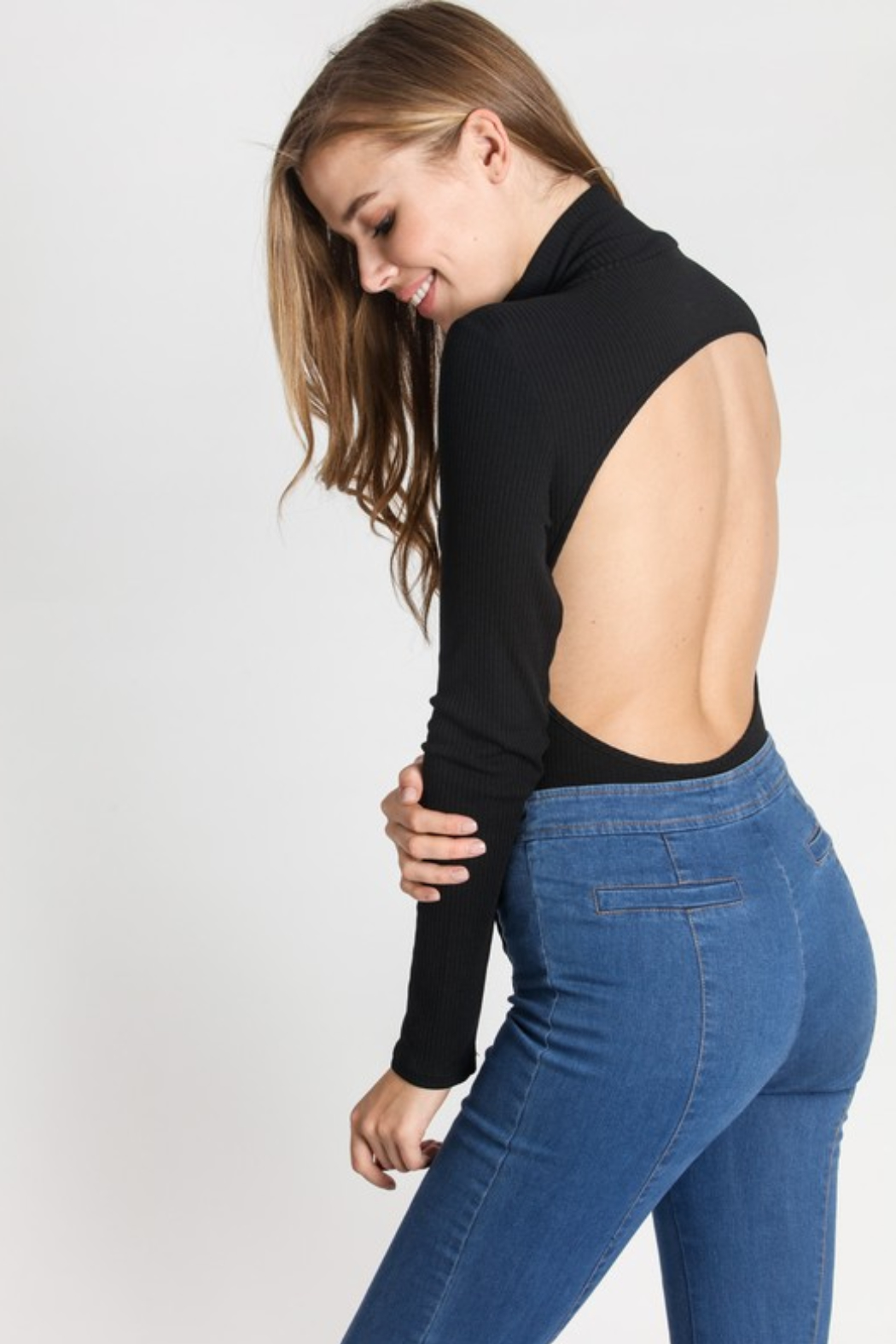 R+D emporium  Backless Bodysuit - Front Cropped Image