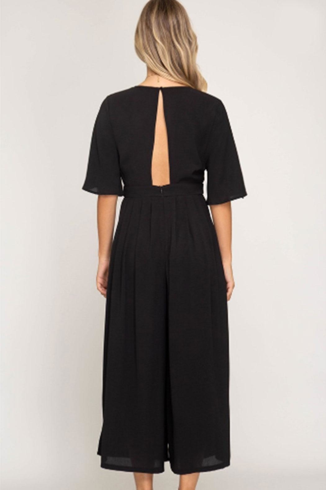 She + Sky Backless Culotte Jumpsuit - Front Full Image