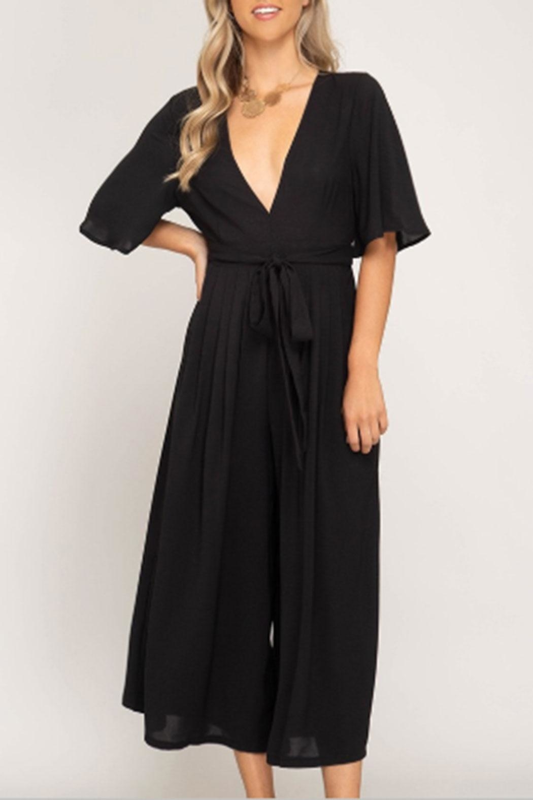She + Sky Backless Culotte Jumpsuit - Main Image