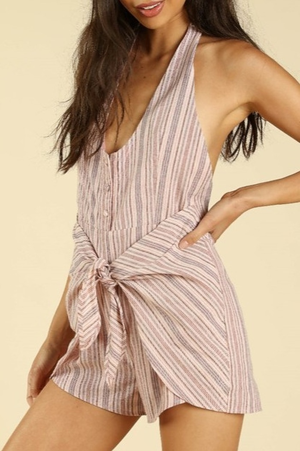 Wild Honey Backless Wrap Romper - Front Cropped Image