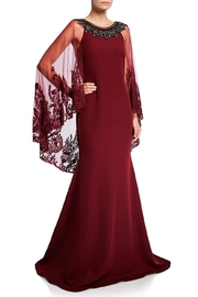 Badgley Mischka Lace Cape Gown - Product Mini Image