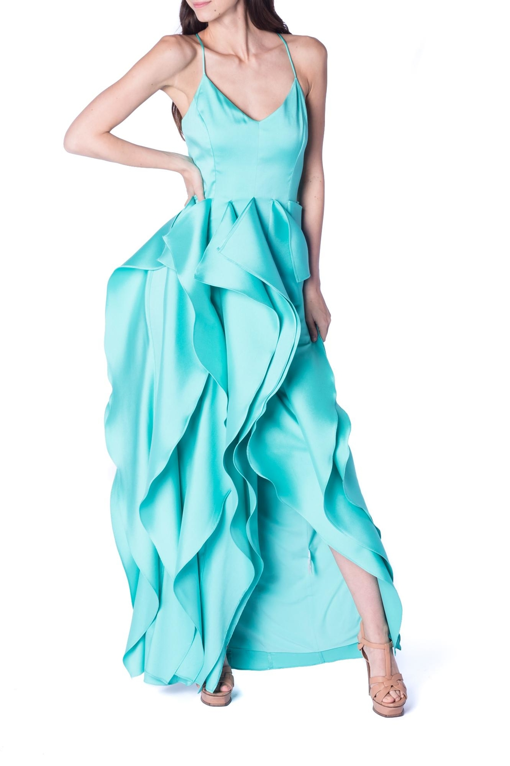 Badgley Mischka Mint Ruffle Gown - Front Cropped Image