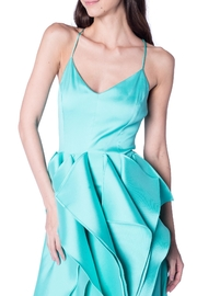 Badgley Mischka Mint Ruffle Gown - Front full body