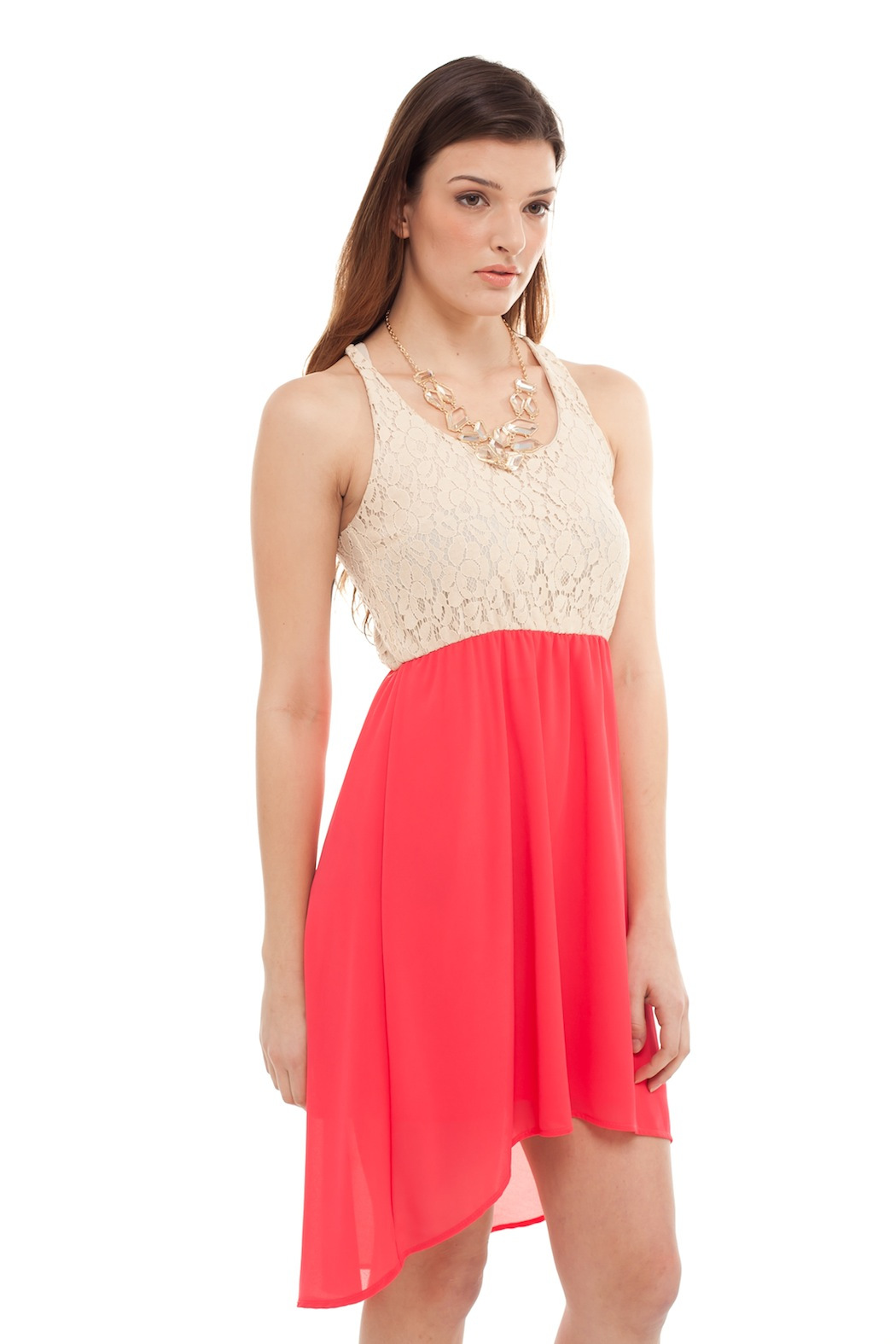 Cantata Lined Lace Dress - Side Cropped Image