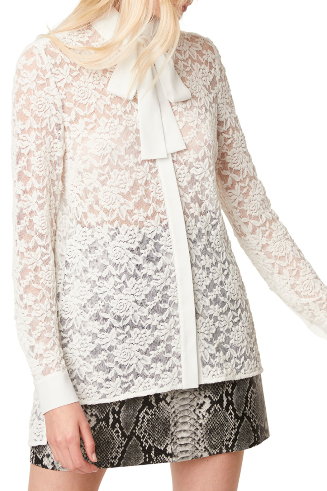 French Connection BAEN LACE NECK TIE BLOUSE - Front Full Image