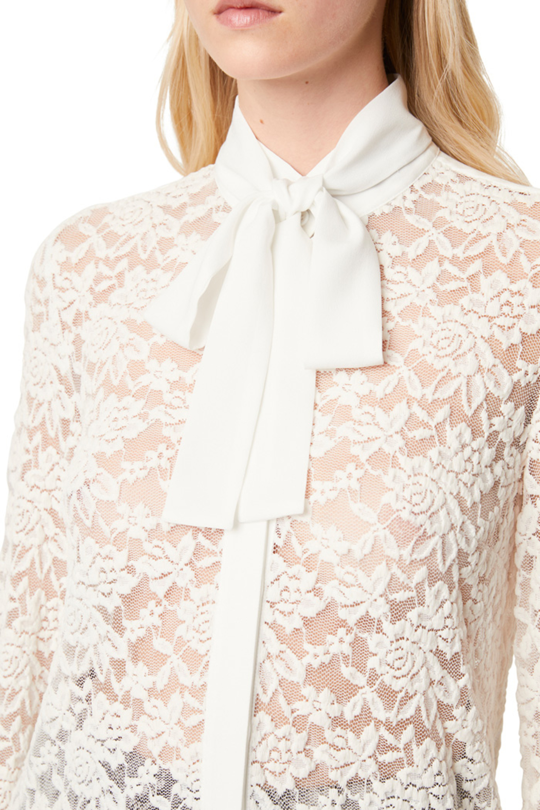French Connection BAEN LACE NECK TIE BLOUSE - Back Cropped Image