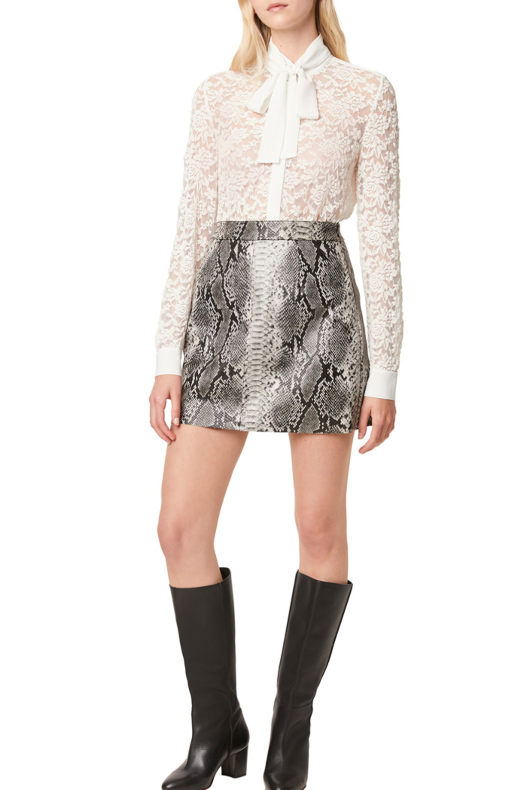 French Connection BAEN LACE NECK TIE BLOUSE - Side Cropped Image