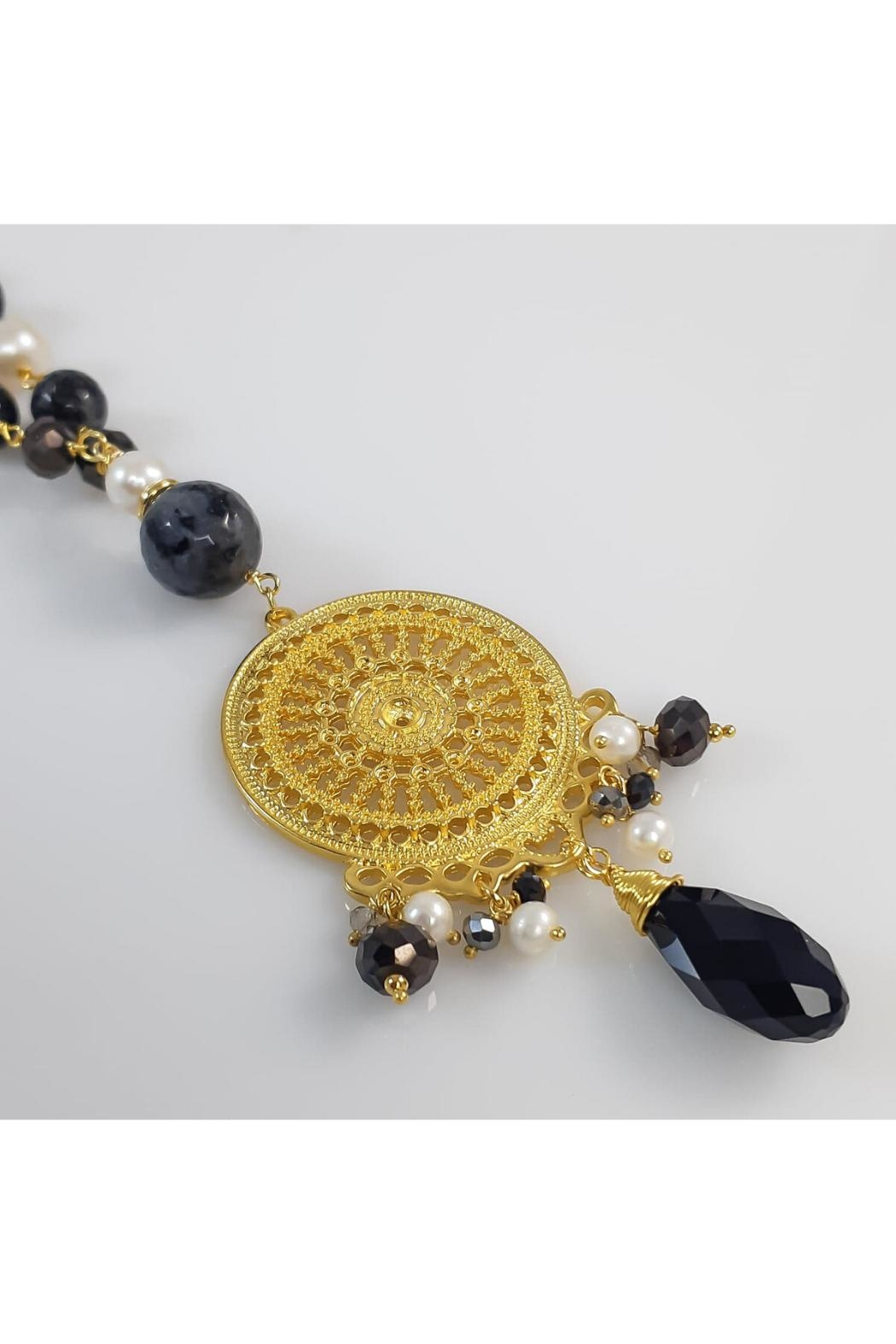 Baggis Accesorios Agata And Pearl Necklace - Side Cropped Image