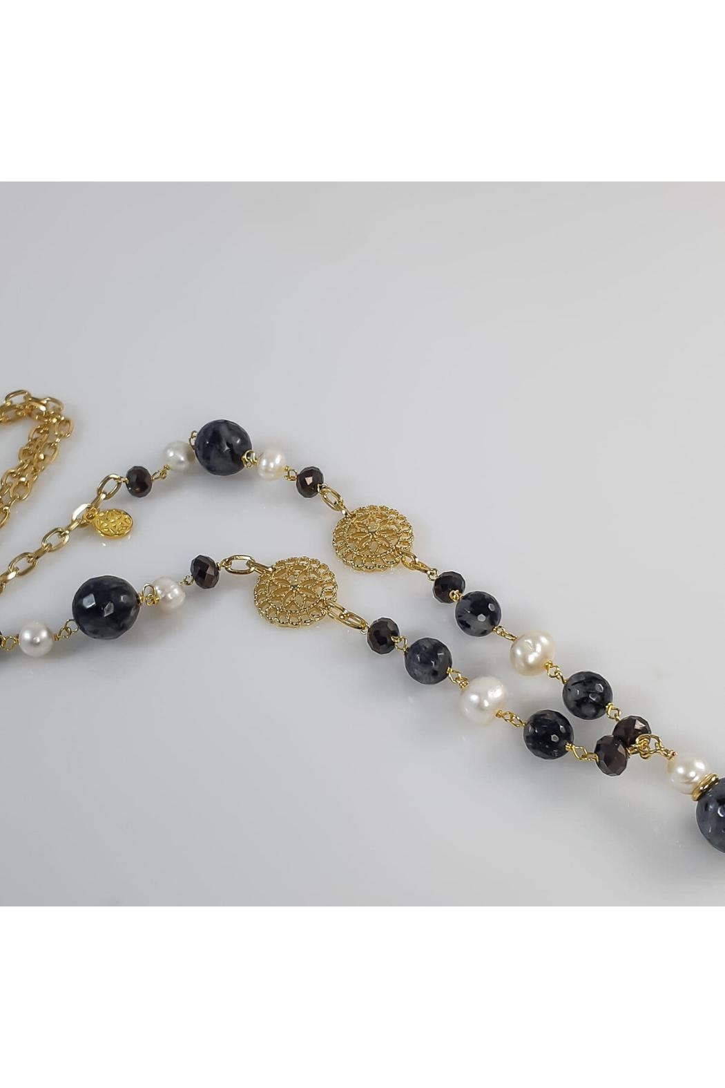 Baggis Accesorios Agata And Pearl Necklace - Front Full Image