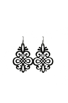 Baggis Accesorios Black Filigree Earring - Product List Image