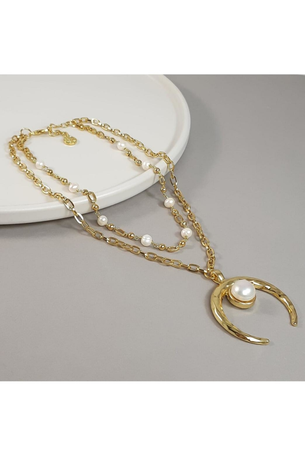 Baggis Accesorios Double Necklace With Pearl And Moon Pendant - Main Image