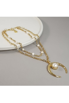 Shoptiques Product: Double Necklace With Pearl And Moon Pendant