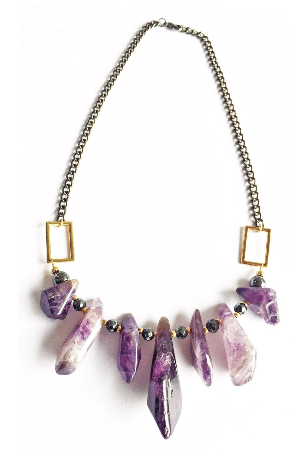 Baggis Accesorios Raw Amethyst Necklace - Back Cropped Image