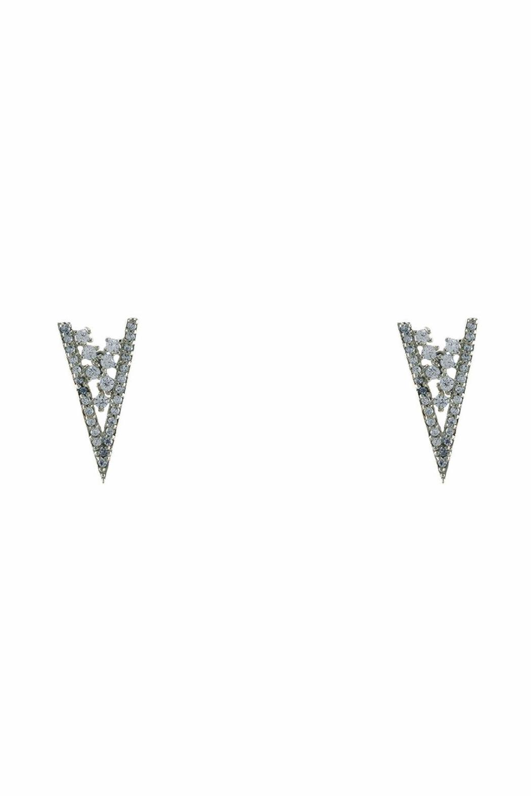 Baggis Accesorios Rhodium Triangle Earring - Front Cropped Image