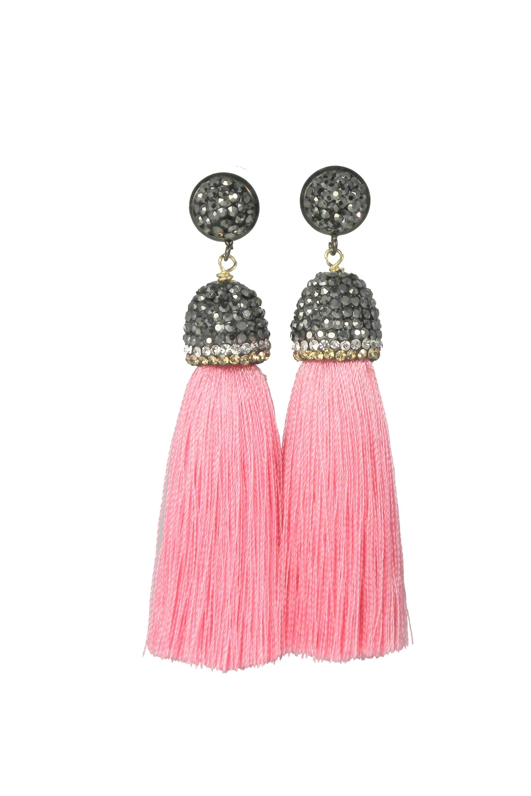 Baggis Accesorios Pink Cotton Tassel Earring - Front Cropped Image
