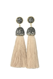 Baggis Accesorios Beige Cotton Tassel Earring - Product Mini Image