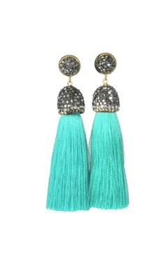 Shoptiques Product: Turquoise Cotton Tassel Earring