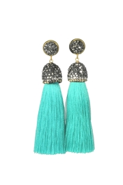 Baggis Accesorios Turquoise Cotton Tassel Earring - Front cropped