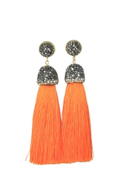 Baggis Accesorios Orange Cotton Tassel Earring - Product Mini Image