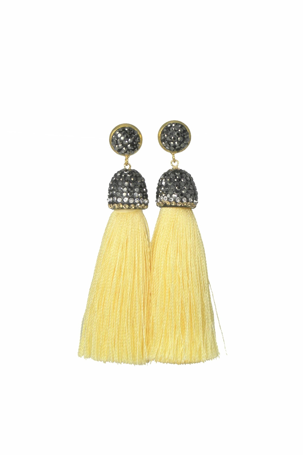 Baggis Accesorios Yellow Cotton Tassel Earring - Front Cropped Image
