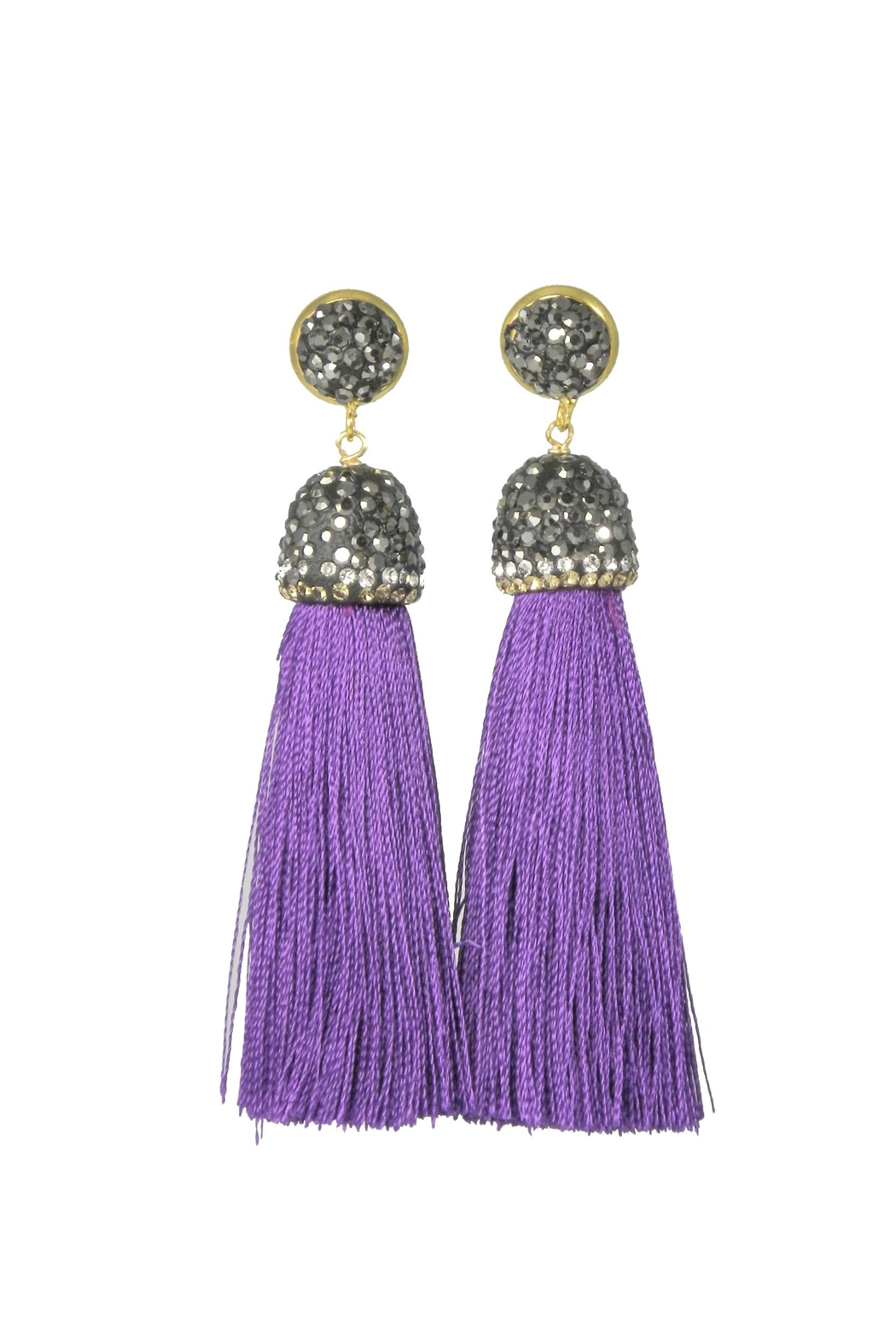 Baggis Accesorios Purple Cotton Tassel Earring - Main Image